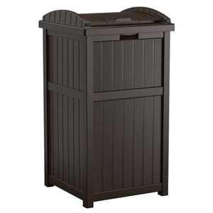 Suncast Trash Hideaway Outdoor Patio 33 Gallon Garbage Waste Trash Can Bin, Java