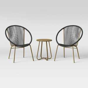 Fisher 3pc Disc Chair Small Space Set - Black/Gold - Project 62™