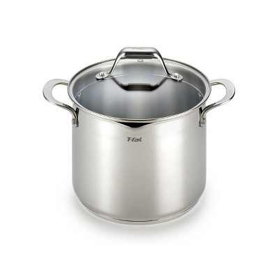T-fal Simply Cook Stainless Steel Cookware, 6qt Stockpot with Lid,  Silver