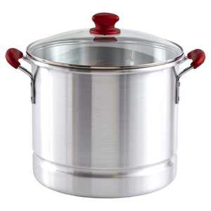 IMUSA 32qt Aluminum Tamale/Seafood Steamer with Ruby Red Handles & Glass Lid