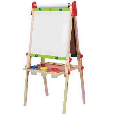 Hape E1010 Magnetic All in 1 Kids Height Adjustable Drawing Dry-Erase Chalkboard Wooden Artist Easel with 3 Paint Pots and Refillable Paper Roll