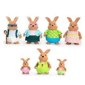 Li'l Woodzeez Miniature Animal Figurine Set - Cottonball Rabbit Family