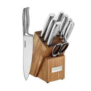 Cuisinart Classic 10pc Stainless Steel Hammered Knife Block Set - C77SSH-10PT