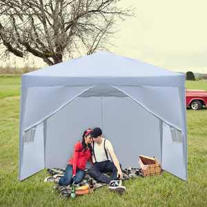 Zimtown 10' x 10' Pop Up Canopy Tent Instant Practical Waterproof Folding Tent w/4 with Carry Bag White