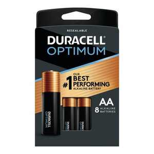 Duracell Optimum AA Batteries - 8 Pack Alkaline Battery with Resealable Tray