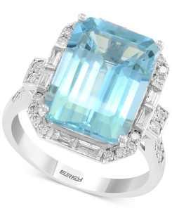 EFFY Aquamarine (6-7/8 ct. t.w.) & Diamond (1/2 ct. t.w.) Ring in 14k White Gold