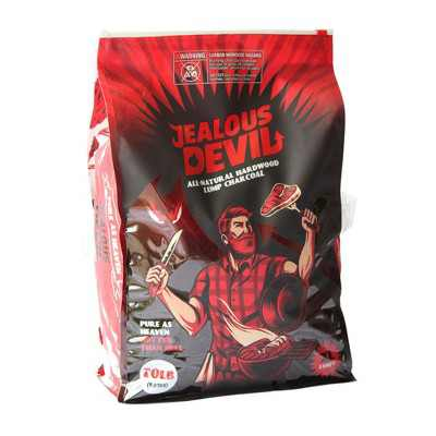 Jealous Devil 100% All Natural Hardwood Lump Charcoal for Grilling and Smoking, 20 Pound Bag
