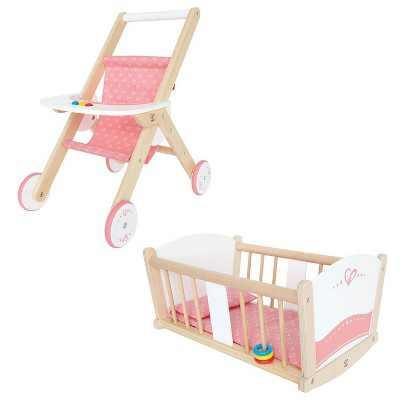 Hape Kids Wooden Pretend Play Baby Doll Stroller & Rock-A-Bye Cradle Crib Toys