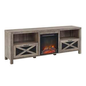 """Newark Industrial Farmhouse Drop Down Door with Electric Fireplace TV Stand for TVs up to 80"""" - Saracina Home"""