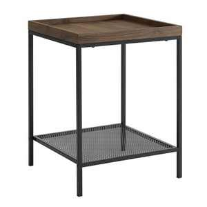 Rosalyn Urban Industrial Glam Square Tray Side Table with Metal Mesh Shelf - Saracina Home