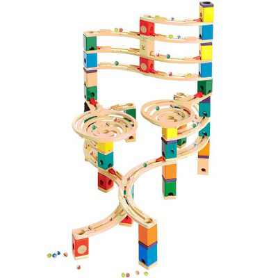 Hape Quadrilla Cyclone Wooden Marble Run Race Maze Toy Construction Building Set