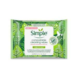 Simple Kind To Skin Compostable Cleansing Wipes - 25ct