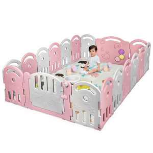 Costway 18-Panel Baby Playpen Kids Activity Center Playard with Music Box & Basketball Hoop