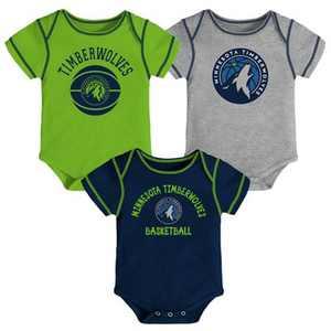 NBA Minnesota Timberwolves Baby Boys' Rookie Bodysuit Set 3pk