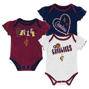 NBA Cleveland Cavaliers Girls' Draft Pick Body Suit Set 3pk
