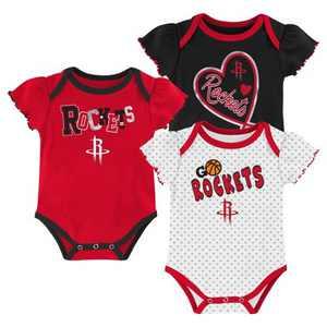 NBA Houston Rockets Girls' Draft Pick Body Suit Set 3pk