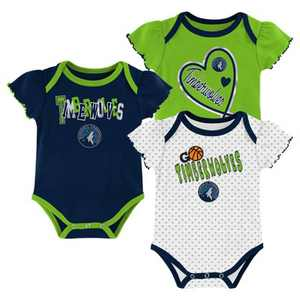 NBA Minnesota Timberwolves Girls' Draft Pick Body Suit Set 3pk
