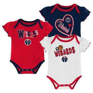 NBA Washington Wizards Girls' Draft Pick Body Suit Set 3pk