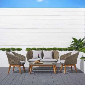 Grayton 4pc Rustic All-Weather Patio Wood and Wicker Conversation Set - Light Gray - Vifah