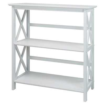 Casual Home Montego 3 Tier Open Shelf X Design Wooden Bookcase, Wood (White)