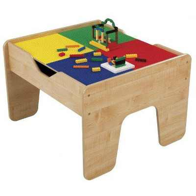 KidKraft 2-in-1 Activity Play Table with Plastic Building Block Board Multicolor