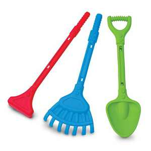 American Plastic Toys APT-01230 28 Inch 3 Piece Deluxe Rake, Shovel, and Hoe
