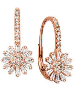 Nude and Vanilla Diamond Flower Drop Earrings (7/8 ct. t.w.) in 14k Rose Gold