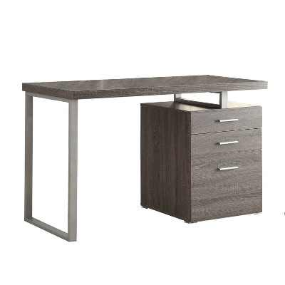 Coaster Home Furniture 47.25-Inch Home Office Writing Study Desk Laptop Computer Table with File Cabinet and Drawer Storage, Weathered Gray