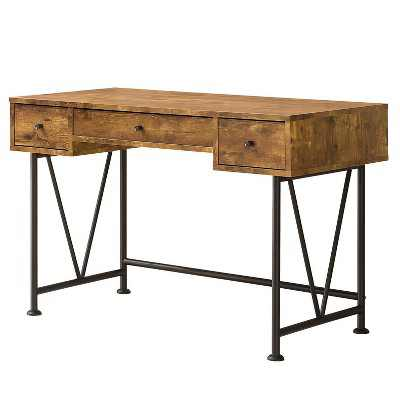 Coaster Home Furniture Analiese Industrial Home Office Writing Study Desk Laptop Table with 3 Storage Drawers and Black Metal Frame, Antique Nutmeg