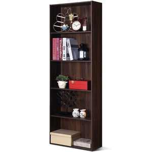 Costway 5-Shelf Storage Bookcase Stand Modern Multi-Functional Display Cabinet Walnut
