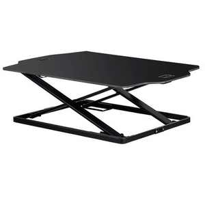 """Monoprice Ultra Slim Sit-Stand Riser Desk Converter - Black (31.3 x 21.3in) Table Top for Single Display, Height Adjustable 1.2""""-15.7"""" - Workstream"""