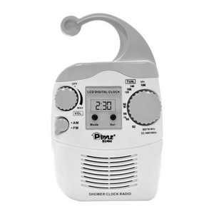 Pyle PSR6 LCD Digital Hanging Waterproof AM/FM Shower Clock Radio, White