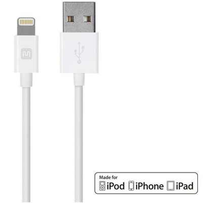 Monoprice Select Series Apple MFi Certified Lightning to USB Charge & Sync Cable - 6 Feet - White for iPhone X, 8, 8 Plus, 7, 7 Plus, 6, 6 Plus, 5S