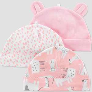 Baby Girls' 3pk Caps - Just One You® made by carter's Pink 0-3M
