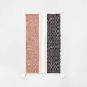 Subtle Center Stripes Colorblock Bath Rug Copper/Cream/Gray - Hearth & Hand™ with Magnolia