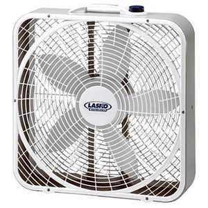 Lasko 3720 20 Inch 3-Speed Quiet Weather-Shield Performance Box Fan with Easy Carry Handle for Doorways, Windows and Home Rooms, White