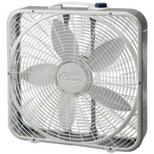 Lasko 3723 20 Inch 3-Speed Quiet Premium Steel High Air Volume Box Fan with Easy Carry Handle for Doorways, Windows and Home Rooms, White