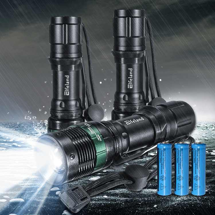 Elfeland 3-Pack 2000 Lumens T6 LED Zoom Adjustable Focus Flashlight Torch Tactical Light Super Bright 3 Modes