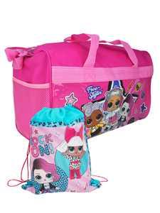 LOL Surprise! Rock On Duffel Bag Travel w/ Drawstring Sling Bag Diva DJ Beats