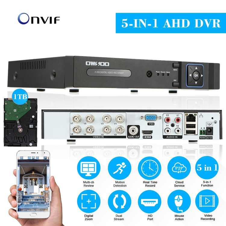 OWSOO XVR 8CH Channel 1080P NVR AHD TVI CVI DVR 5-in-1 PTZ Network DVR CCTV P2P Support for Android/ APP Control Motion Detection for Camera