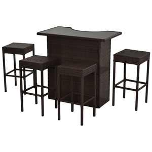Outsunny 5 Piece Outdoor Patio Wicker Bar Set Outside Rattan Table Chair Stool Set with Glass Top and Shelf