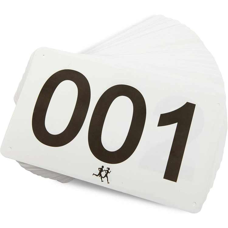 500 Count Race Bibs for Running Marathons, 001-500 Track and Field Waterproof Competitor Numbers, 7 x 4 in
