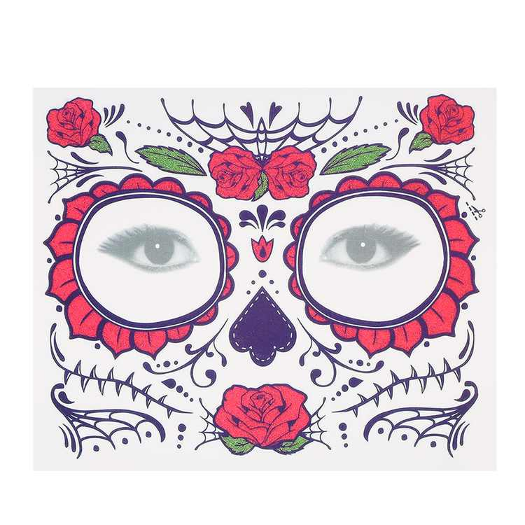 Temporary Tattoo Sticker Scars Terror Flowers Pattern Eyes Face Stickers Makeup Stage