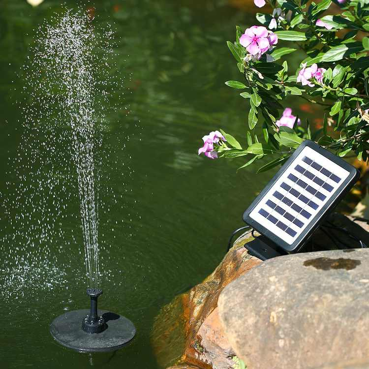 Battery Backup Solar Fountain Pump with LED Lighting Submersible Solar Water Pump Kit for Pool Koi Pond Garden Bird Bath 1.5W, Adding A Bright Water Effect To Your Garden