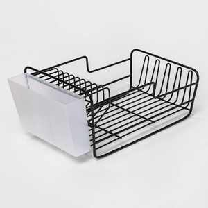 "17"" x 6.9"" x 9.5"" Space Saver Dish Rack with Utensil Tray Black - Threshold™"