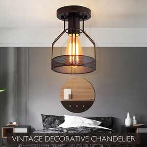 Vintage Metal Flush Mount Ceiling Light Fixture Cage Ceiling Lamp Loft Restaurant Bedroom LED Lamps For Home Bedroom Patio Porch Decor