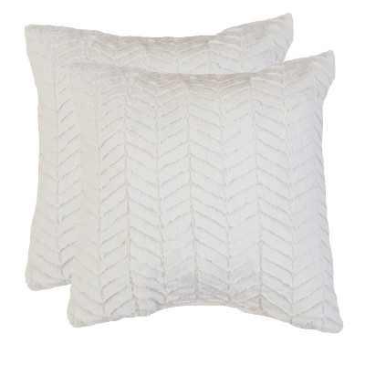 2pk Egret Aiden Chevron Throw Pillows and Throw Blanket White - Décor Therapy