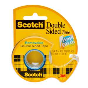 Scotch Removable Double Sided Tape, 3/4 in x 200 in, 1 Dispenser