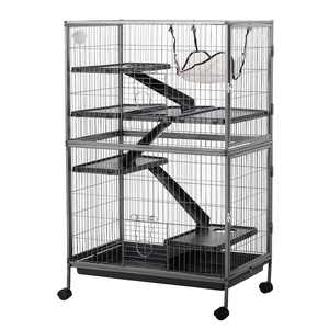 Pawhut 50 4 Tier Steel Plastic Small Animal Pet Cage Kit with Wheels, Silver Gray Hammertone