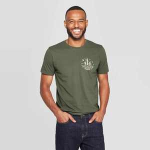 Men's Standard Fit Great Pacific Short Sleeve Crew Neck Graphic T-Shirt - Goodfellow & Co Green